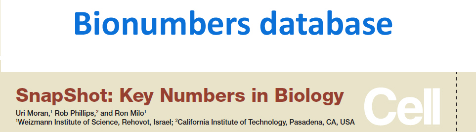 Bionumbers database